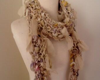 Scarf   Hand Spun Hand Knit  Art Yarn  merino  kid mohair silk