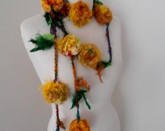 recycled  sari silk rose flower garland necklace  golden yellow by plumfish