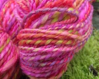 Handspun yarn, Organic Polwarth handpainted yarn, worsted thick and thin-La Cenerentola