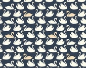 Birch Organic Fabric, Bevy in Dusk and Shell, Swan Lake ,by the half-yard