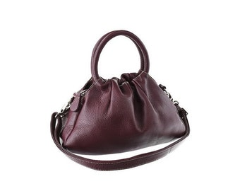SALE - Purple Leather Purse, Leather Handbag, Shoulder Bag, artoncrafts