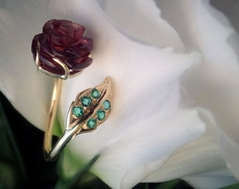 Rose Wrap Ring, Carved Garnet Rose and Emerald Leaf, Solid 18k Yellow Gold OOAK Ring, Ready to Ship