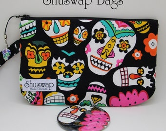 Mexican Sugar Skull Wristlet and Mirror Set