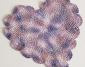 "Crochet Doily - Hand Dyed Upcycled Home Table Top Decor - Purple Lavender Lilac Plum Grape Mauve Pink Rose Heart White Pastel 8.5"" x 9"""