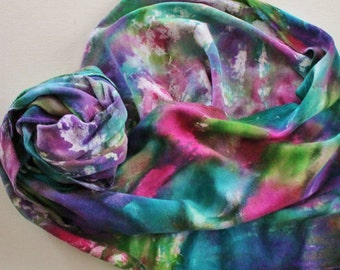 SALE Infinity Scarf - Hand Painted Circle Scarves Cotton Pink Purple Teal Turquoise Blue Green White Bright Rainbow Reversible Tie Dyed