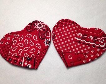 "Two mug rugs, coasters, 4 3/4""x 5 1/4"" quilted mug rug, quilted coasters, red bandana mug rugs, reversible coasters, Valentine coaster"