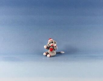 Miniature Handmade Sock Monkey, Valentine Heart, Dollhouse Baby Nursery Toy, Ooak, Artist Doll, Cheryl Brown