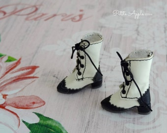 Victorian Goth Lace up Boots for Blythe dolls, 1/6 BJD dolls, 3cm feet, Azone pure neemo body S and XS