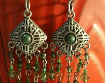 Green Beaded Boho Gypsy Style Earrings