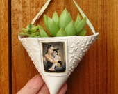 Baby Gopi Krishna and Mother Hanging Ceramic Planter Vase Ornament, Pocket Pouch Decor for Air Plants in Home or Office