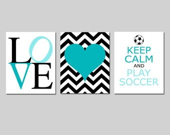 Soccer Girl Kids Wall Art Trio - LOVE, Chevron Heart, Keep Calm and Play Soccer - Set of Three 8x10 Prints - Choose Your Colors