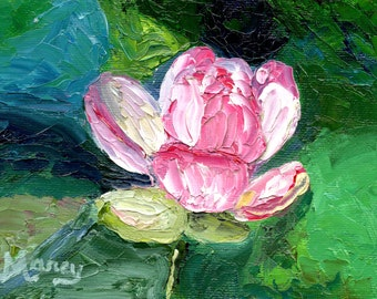 """Original Oil Painting, """"Pink Water Lily"""", 4""""x6"""" oil on canvas panel"""