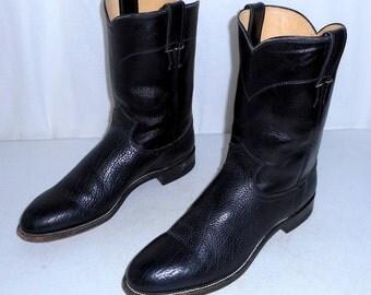Black Justin Cowboy Boots Roper style mens size 9 B Narrow width western wear