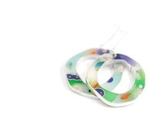 Confetti #5 Earrings Ooak multicolored resin sterling silver