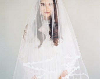 Lace Drop Veil, Lace Wedding Veil, Double Layer Veil, Two Tier Veil, Ivory Veil, Classic Veil, Lace Edge, Blusher Veil, Veiled Beauty 1636