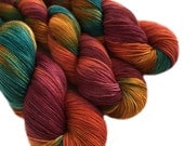 "Sock yarn, sw merino nylon, hand dyed, WANDER, 465 yds, ""Sunset Over The Sahara"", self striping"