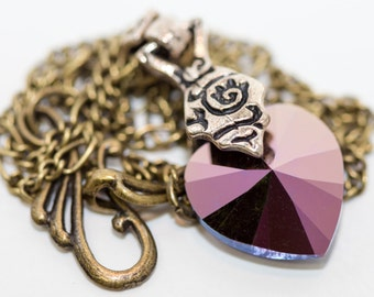 Swarovski Crystal Purple Heart Vintage Style Necklace