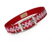 SALE - pink and red hearts and stripes Valentines Day metal buckle dog collar (3/4 inch)