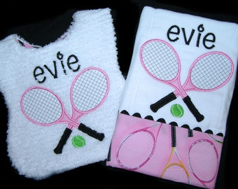 Personalized Baby Gift Handmade Appliqued Tennis Bib and Burp Cloth Reversible White Chenille
