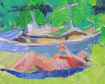 Last Days of Summer - summer - sunbathing painting - expressive - impressionism art - 6x6 inches - artist Linda Hunt - low country art boat