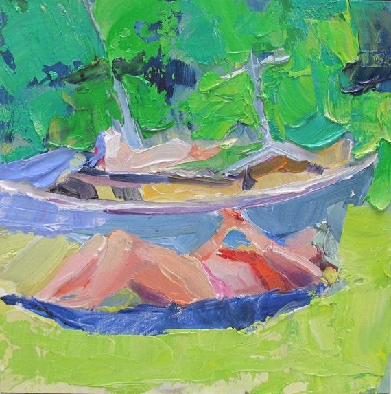 Last Days of Summer.....summer, boat, sunbathing, impasto, impressionistic, contemporary