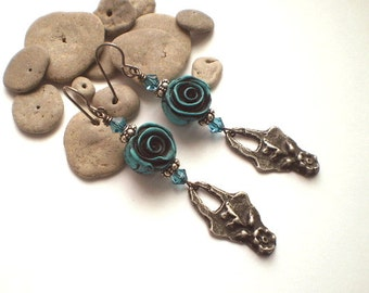 VICTORIAN ROSES  ~ Polymer Clay and Pewter Earrings with Sterling silver