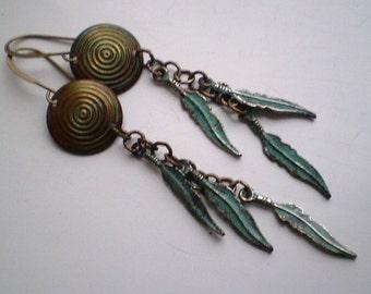 WHISP -  Vintaj Brass Feather Dangle Earrings