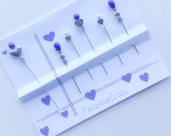 Heart Pins - Valentine's Day - Beaded Quilting Pins - Gift for Quilter - Sewing Accessory - Pincushion Pins - Beaded Straight Pins - Hearts