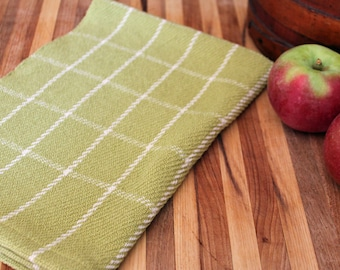 Handwoven windowpane plaid kitchen towel in plum green & natural cottons