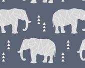 Elephant Fabric - Geometric Elephant / Dark Blue Custom Fabric By Little Arrow Design - Elephant Cotton Fabric By The Yard with Spoonflower