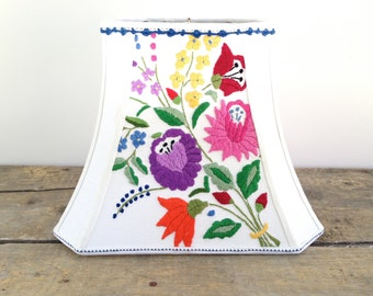 """Vintage Embroidery Lamp Shade Floral Lampshade Bright Colors Rectangle Cut Corner Bell, 7"""" x 12"""" x 9.5"""" high washer top - Happy Lights!"""