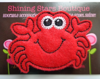 Hair Accessories - Felt Hair Clip - Large Red Summer Crab Boutique Embroidered Hair Clippie For Girls - Ocean Or Under The Sea Theme