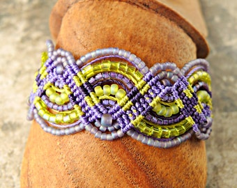 Lime and Amethyst Macrame Bracelet - Green and Purple Micro Macrame Bracelet - Beaded Macrame Bracelet