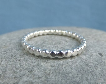 Sterling Silver 2.2mm Beaded Wire Stacking Ring - Handmade Metalwork Stacker - Bright Silver or Oxidised - Handmade Metalwork Jewelry