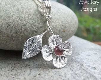 Pink Tourmaline Flower and Leaf Sterling Silver Pendant - Handmade Metalwork Wirework Gemstone Jewelry - Garden Floral Petals Blossom