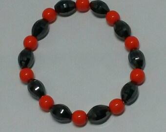 Orange and Black Stretch Bracelet