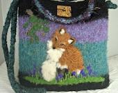 Alpaca Felted Purse, Alpaca Felted Handbag, Fox Art, Needle Felt Fox