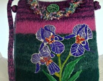 Felted Purse,Felted Tote,Felted Handbag, Iris Art,Flower Art, hand made felted purse