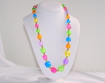Bright Colors Beaded Necklace Vintage Multicolor Lucite Square Chunky Beads Colorful Pink Blue Purple Green Yellow