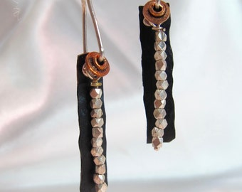 copper and  thai silver beaded earrings  one of kind