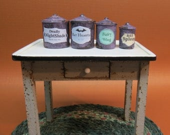 Collector Miniature 1:12 Set of Witch's Cannisters Aged, Labeled