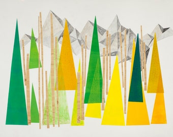 Wilder Nest, abstract landscape print, abstract wall art, art print, mid century art, modern abstract art, wall decor, mountains, trees