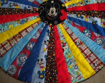 Mickey Mouse Round Baby Quilt, PlayMat.