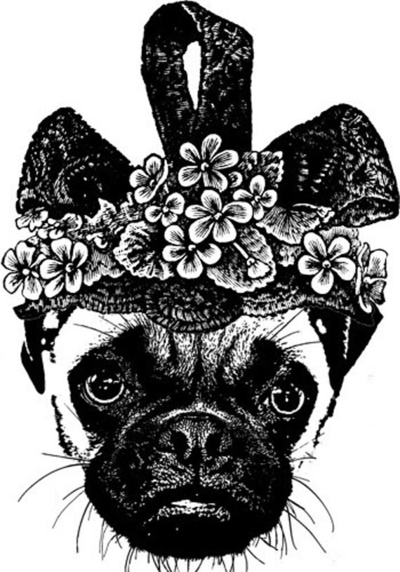 fancy hat pug dog clipart png clip art Digital Download graphics Image  digi stamp digital stamp animals printable wall art puppies dogs