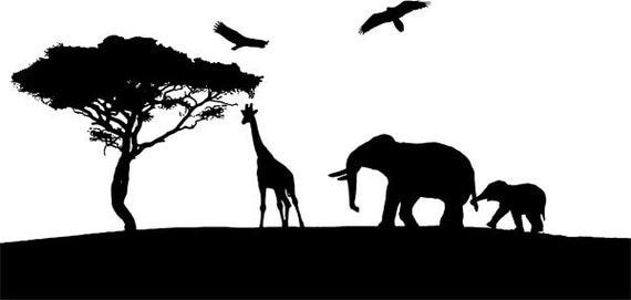 giraffe elephants silhouette printable art clipart png clip art Digital Image Download digital ...