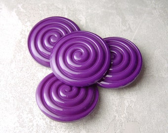 Purple Shank Buttons, 31mm 1-1/4 inch - Grooved Glossy Swirl Purple Sewing Buttons - 4 VTG NOS Violet Purple Spiral Plastic Buttons PL144