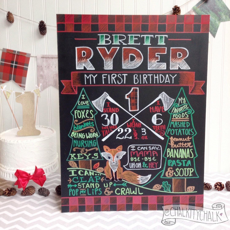 Lumberjack Birthday Chalkboard Woodland First Birthday