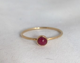 14k Gold Ruby Ring - Engagement Ring - Stackable - July Birthstone