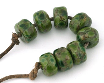 Organic Olive Drops Handmade Lampwork Glass Beads (8 Count) by Pink Beach Studios (1203)