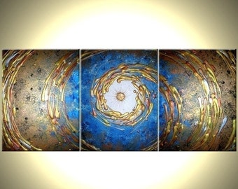 Abstact Blue Gold ORIGINAL Art, Metallic PAINTING, by Dan Lafferty - 54x24 - Sale 22% Off